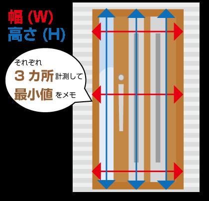 玄関ドアの寸法を測る