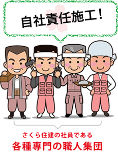 自社責任施工 さくら住建の社員は各種専門の職人集団です